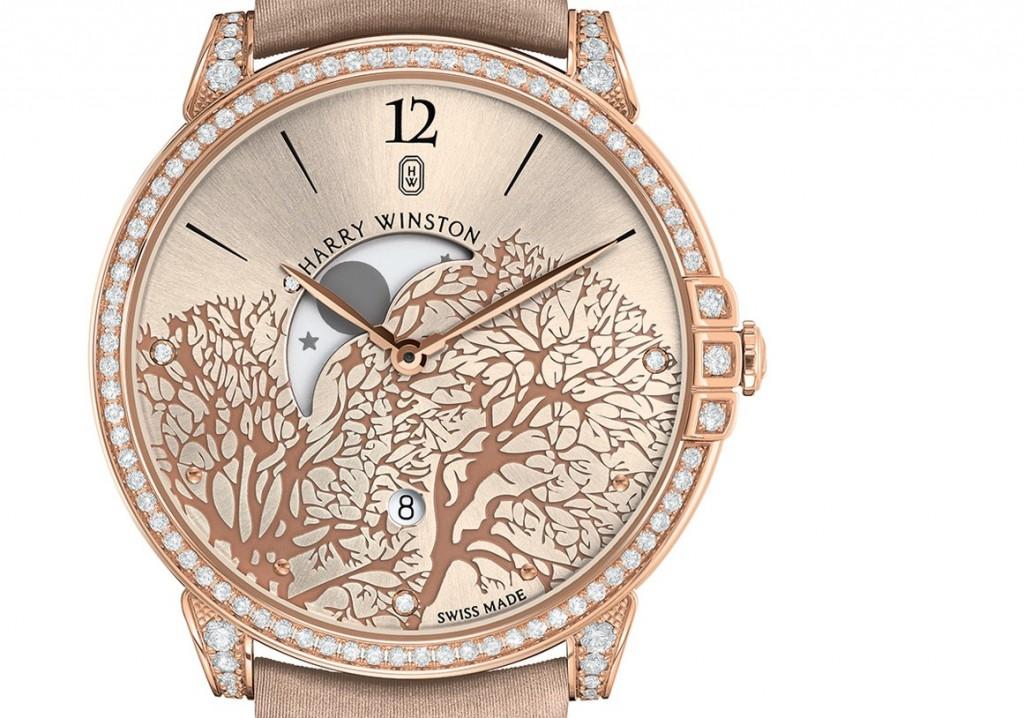 Красивые женские наручные часы с большим циферблатом золотистого цвета, украшенные стразами
